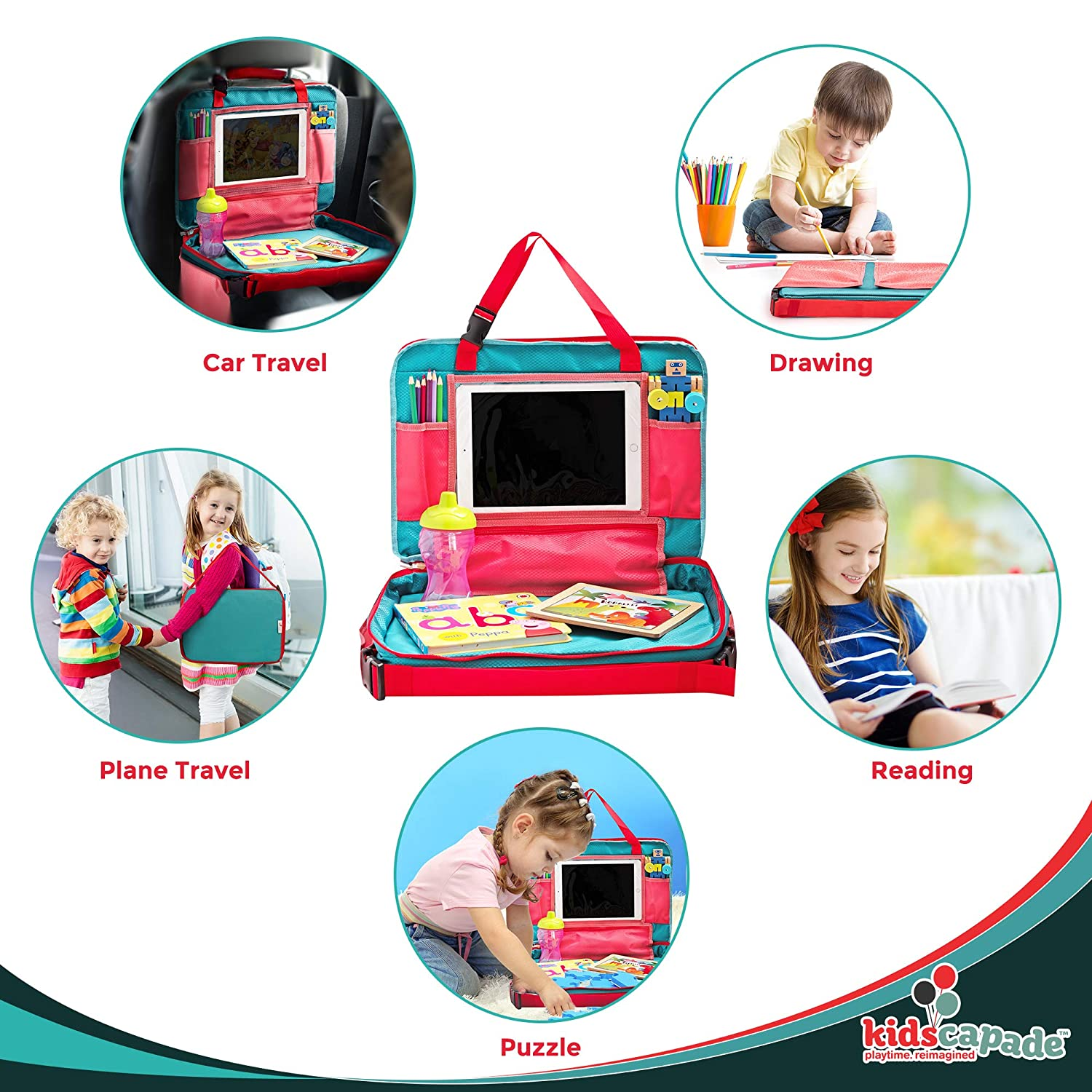 Kidscapade Kids Travel Tray Activity Lap Desk Carry Bag /& Backpack Keeps Toddlers Busy and Quiet Travel Organizer for Car Seat Snack Stroller Or Plane Portable and Detachable with Free eBook