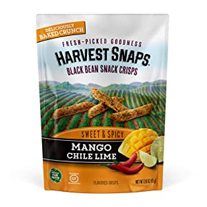 Harvest Snaps Black Bean Snack Crisps Mango Chile Lime, 3.0 oz (Pack of 4). Plant-based | Baked, never fried | Certified Gluten-Free