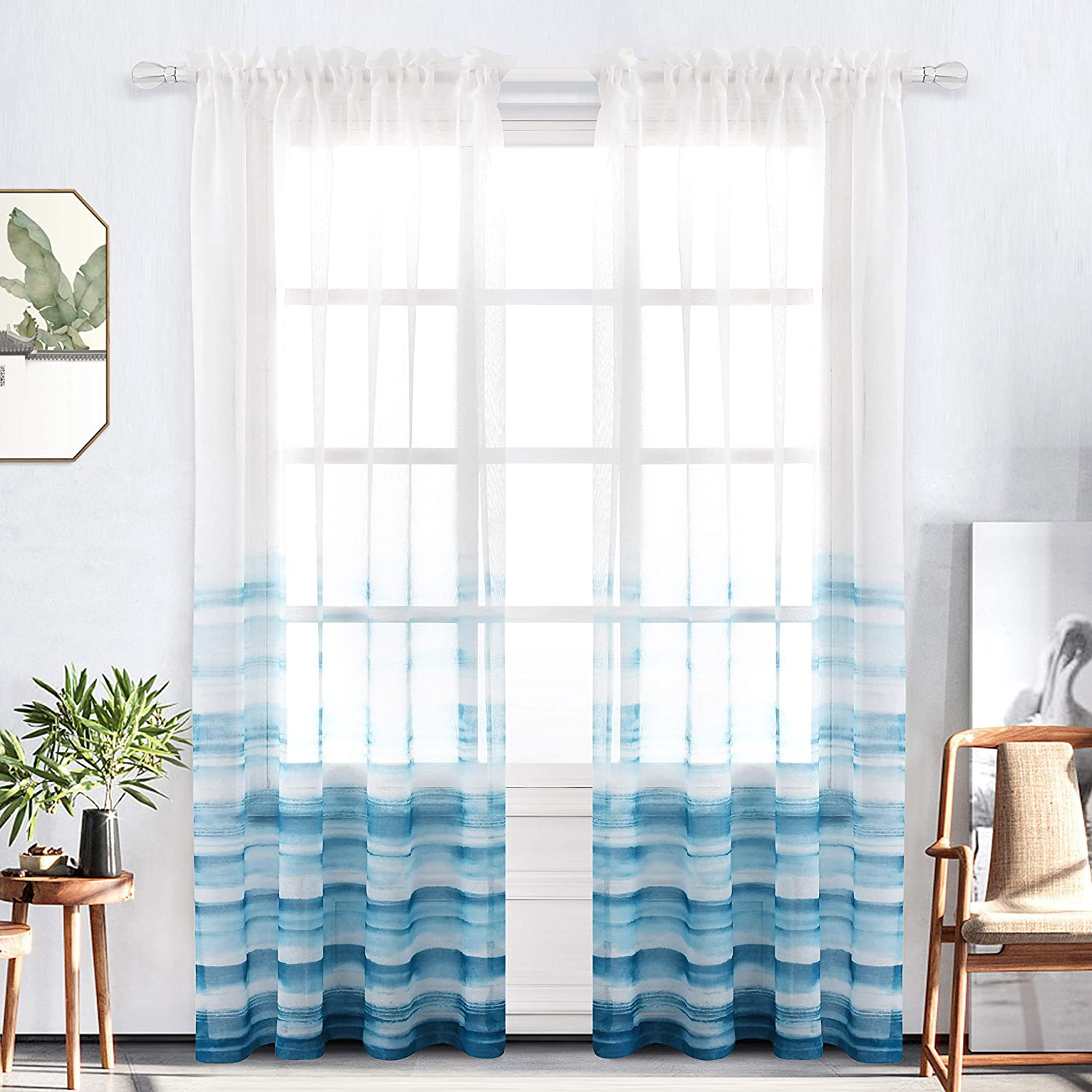 Bermino Faux Linen Sheer Curtains Voile Rod Pocket Semi Sheer Curtains for Bedroom Living Room Set of 2 Curtain Panels 54 x 84 inch Ink Blue Gradient