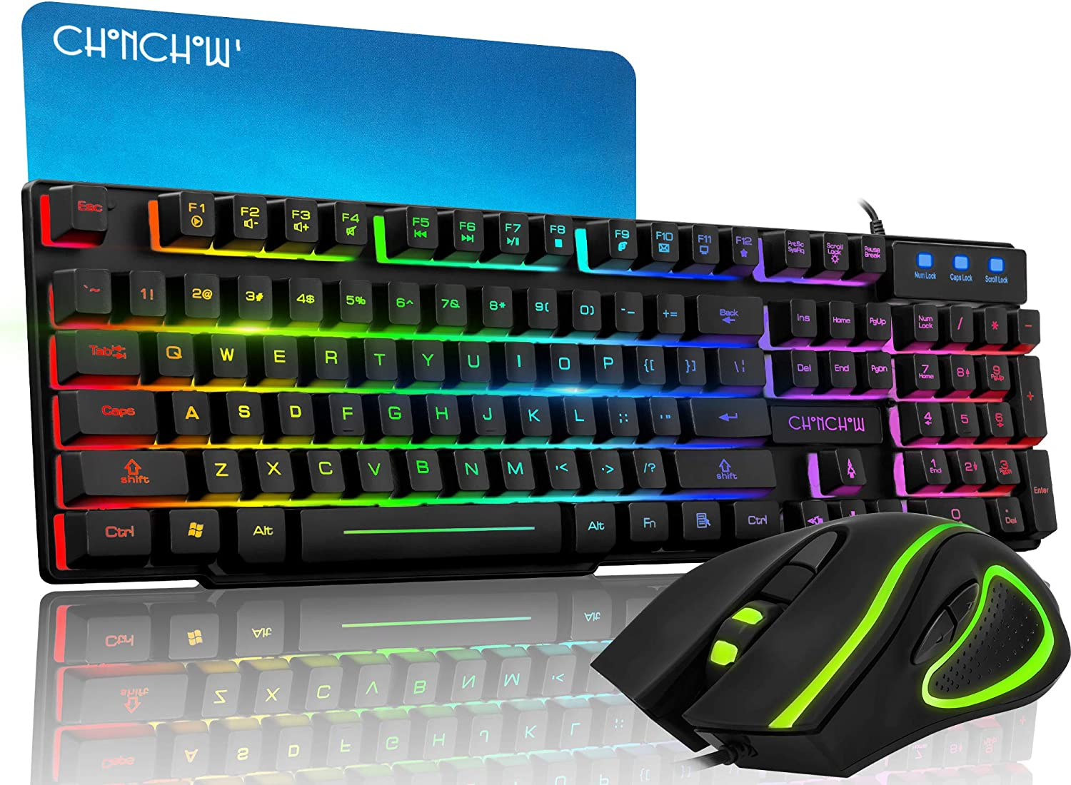 CHONCHOW Wired Gaming Keyboard and Mouse Combo LED Rainbow Light Up Gaming Keyboard RGB Backlit Gaming Mouse 3200DPI Large Mouse Pad for PS4 Windows PC