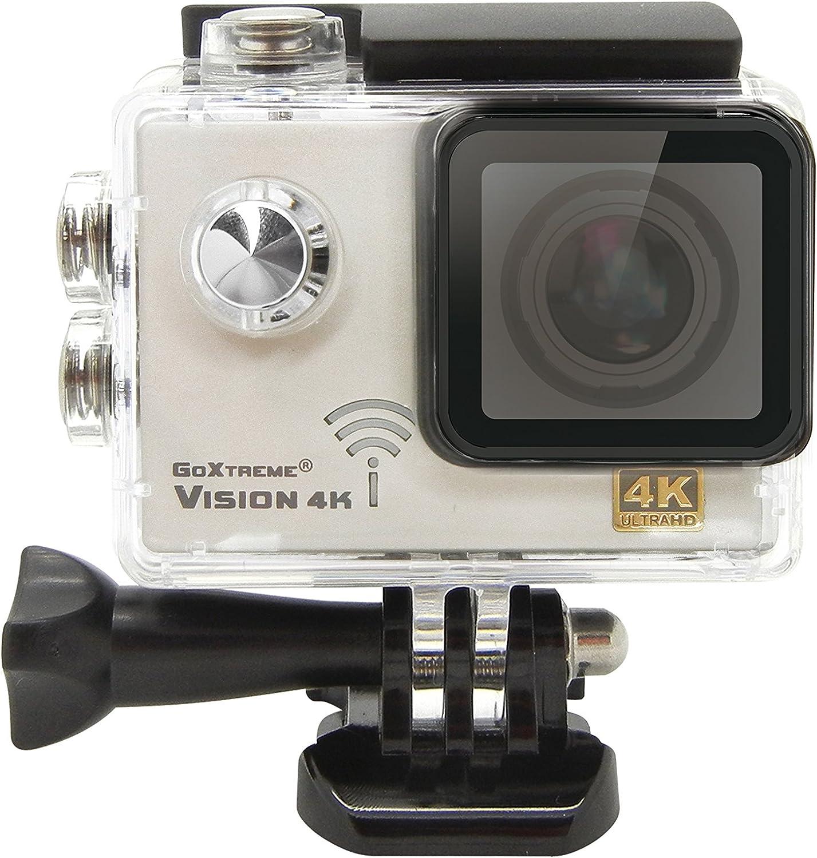 Easypix GoXtreme Vision - Cámara deportiva (Wi-Fi, 4K, gran angular 120°), color plata