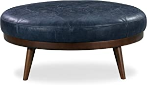 Poly and Bark Gio Modern Leather Ottoman Pouf (Midnight Blue)