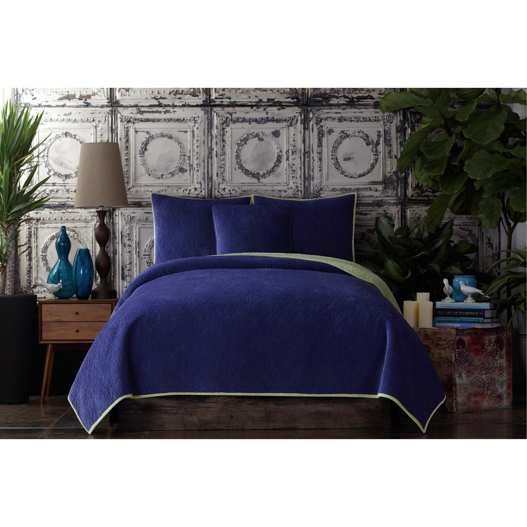 Poetic Wanderlust by Tracy Porter BQ2091PHKC-4400 Solid Reversible Velvet Coverlet, King, Deep Blue and Sea Mist Green by Poetic Wanderlust By Tracy Porter