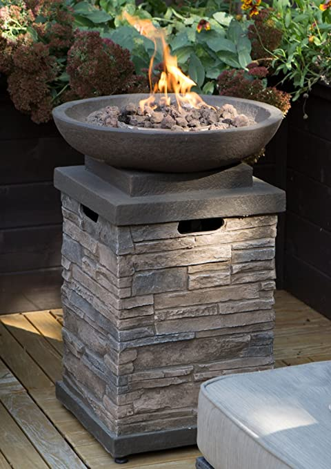 Amazon Com Realistic Stone Like Outdoor Patio Fire Pit Bowl With