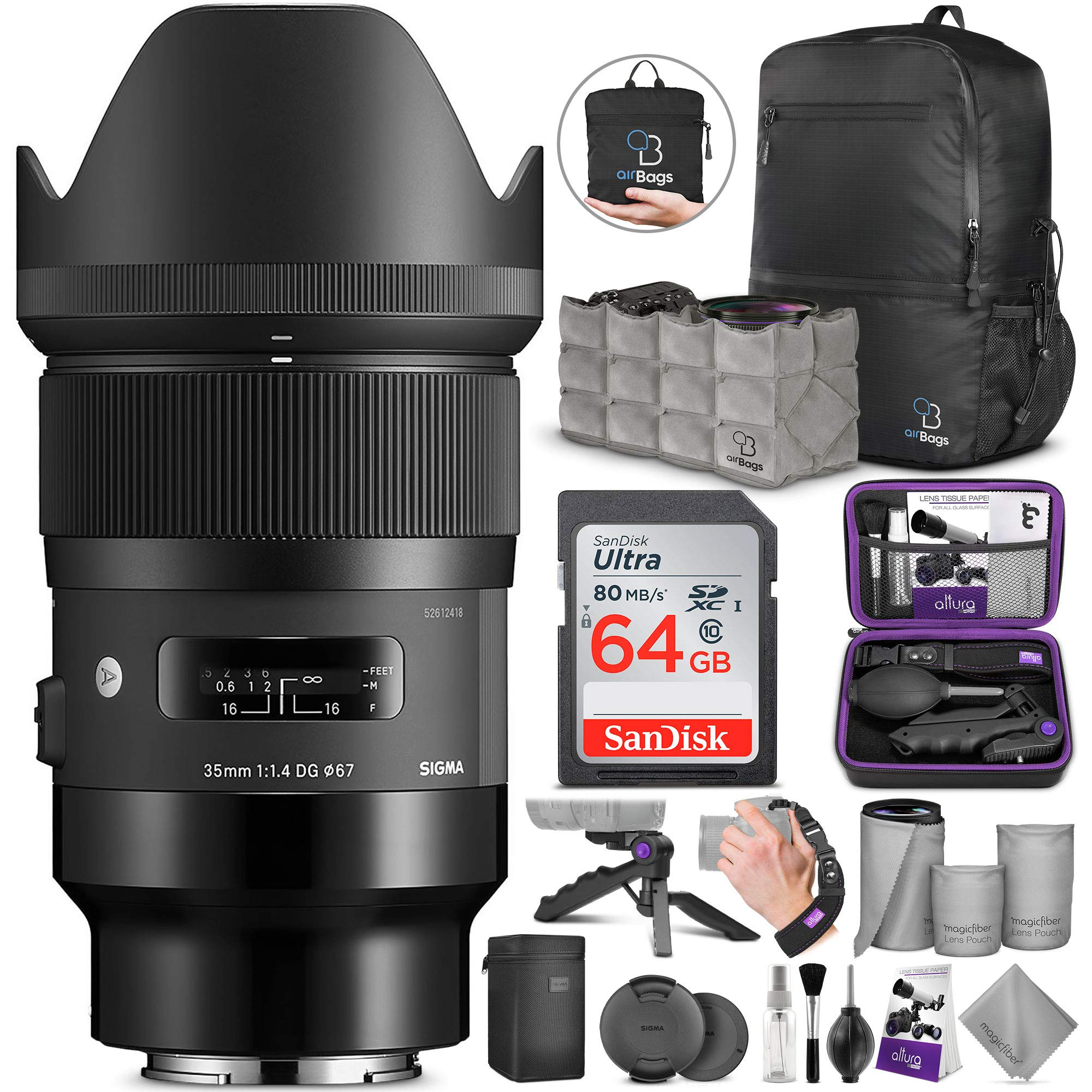 Sigma 35mm f/1.4 DG HSM Art Lens for Sony E Mount Cameras with Altura Photo Advanced Accessory and Travel Bundle by Sigma