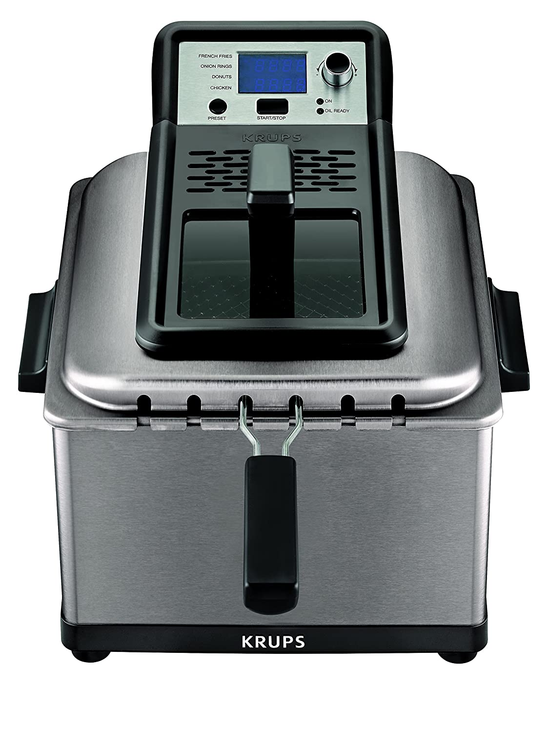 KRUPS KJ502D51Deep Fryer, Electric Deep Fryer, Stainless Steel Triple Basket Fryer, 4.5 Liter, Silver