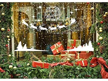 Christmas Scenes Images.Mgparty 390 Pcs Christmas Window Clings Christmas Scenes Decals Removable Snowflake Bell Decal For Window Mirror Glass Door Car Body Holiday Xmas