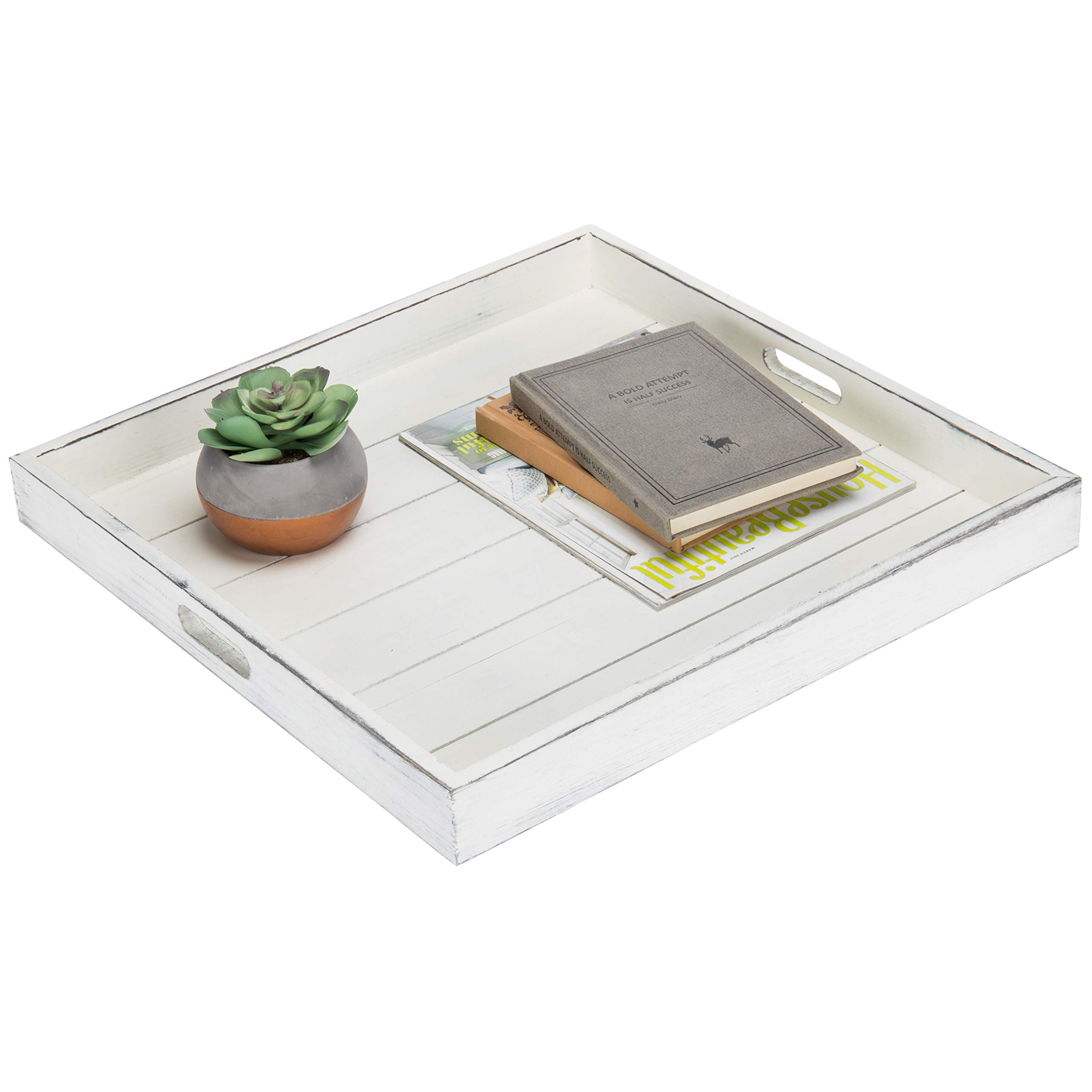 MyGift Vintage White 19-Inch Square Ottoman/Serving Tray with Cutout Handles by MyGift
