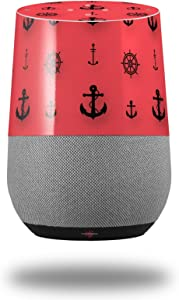 Decal Style Skin Wrap for Google Home Original - Nautical Anchors Away 02 Coral (Google Home NOT Included) by WraptorSkinz
