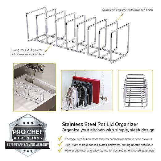 Pro Chef Kitchen Tools Stainless Steel Pot Lid Organizer Kitchen Storage & Organization Kitchen, Dining & Bar Keep Your Cabinents O