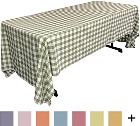 LA Linen Checkered Tablecloth, 60 By 120 Inch, Apple Green