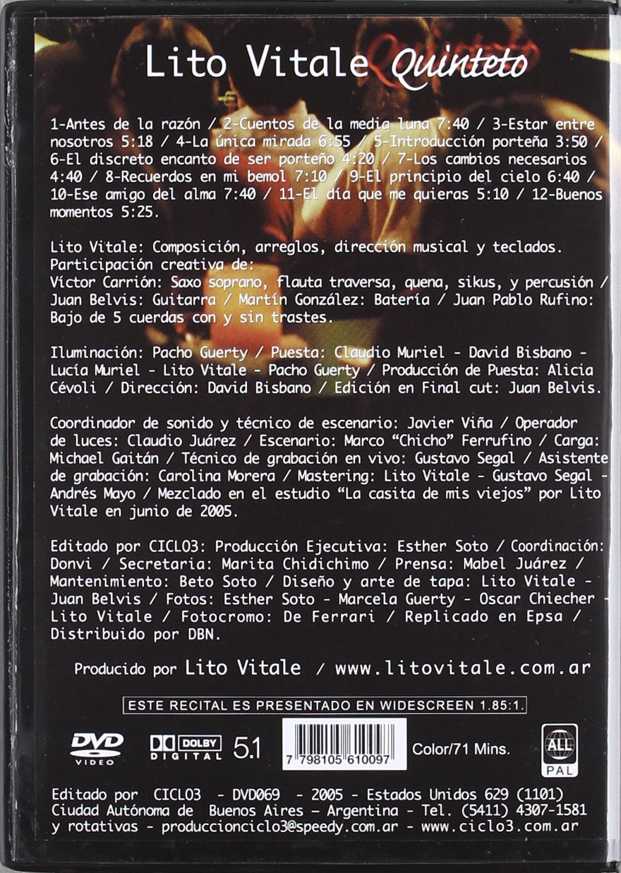 Vivo en Argentina [DVD]: Amazon.es: Vitale Lito: Cine y Series TV
