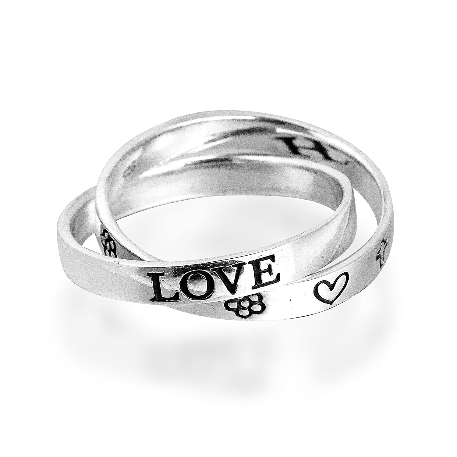'Love Hope Faith' Interconnected Double Band .925 Sterling Silver Ring