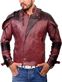 Men's Red Star Superhero Jacket Peter Quill Motorcycle Leather Costume The Custom Jacket