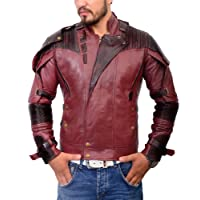 Men's Red Star Superhero Jacket Peter Quill Motorcycle Leather Costume