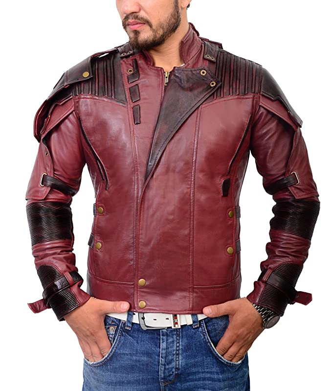 Abbracci Mens Biker Star Leather Jacket Motorcycle Style Superhero Costume ►Free T-Shirt◄ with Millitary Style