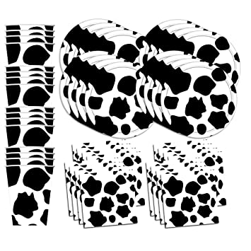 .com: cow print birthday party supplies set plates napkins ...