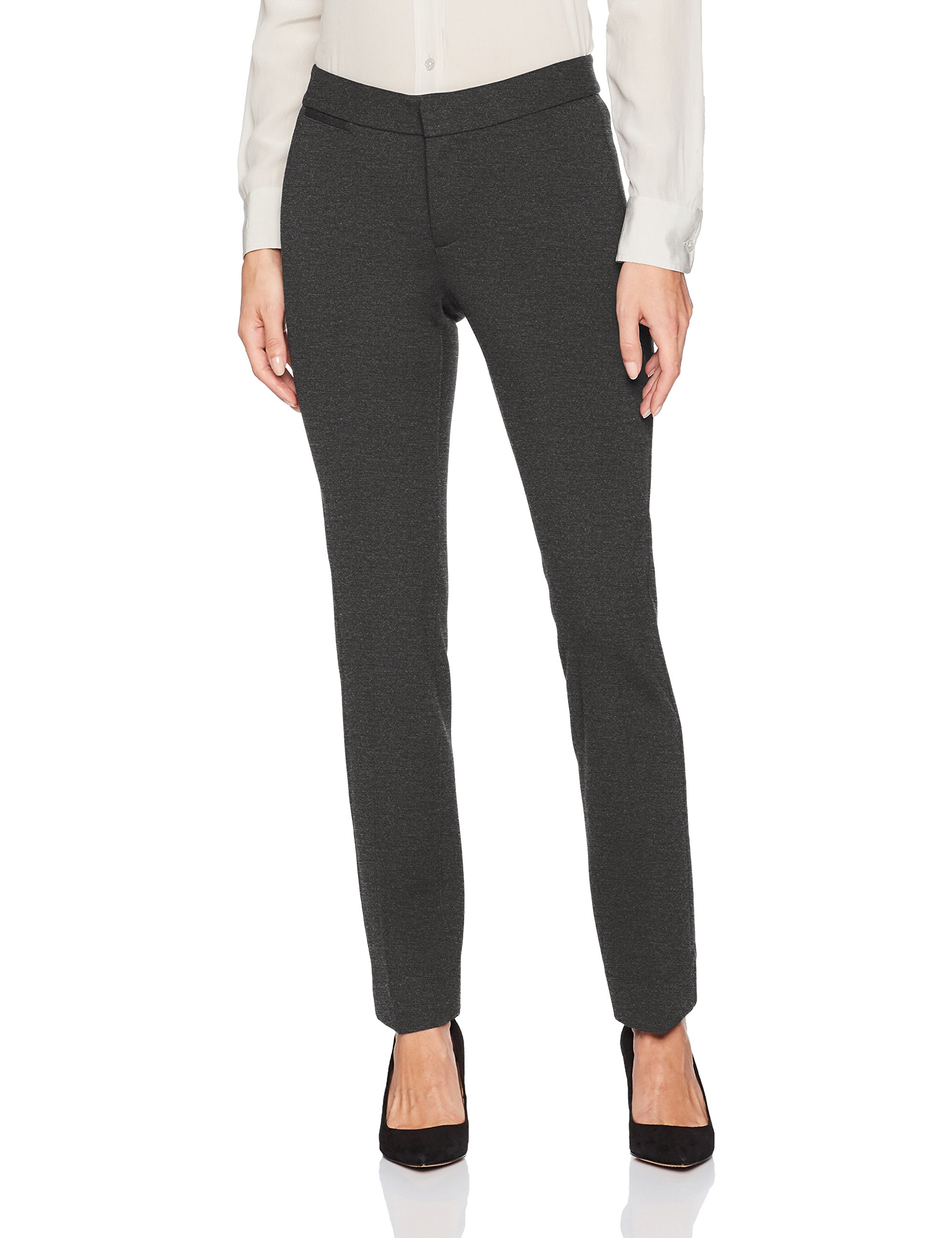NYDJ Women's Petite Ponte Trouser Pant, Charcoal Heather, 10P by NYDJ