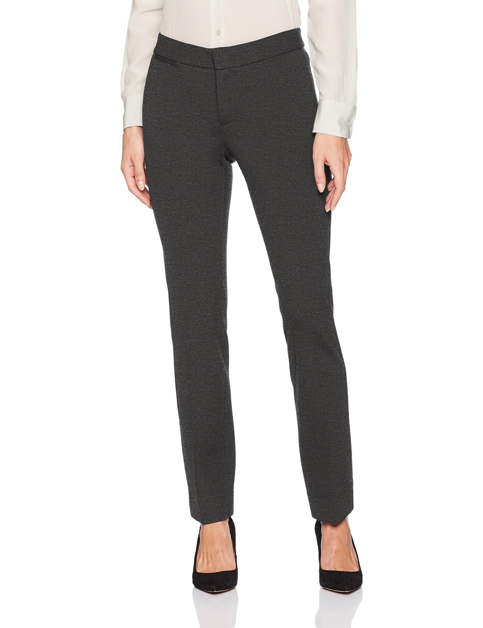 NYDJ Women's Petite Size Ponte Knit Trouser Pants, Charcoal Heather, 4P