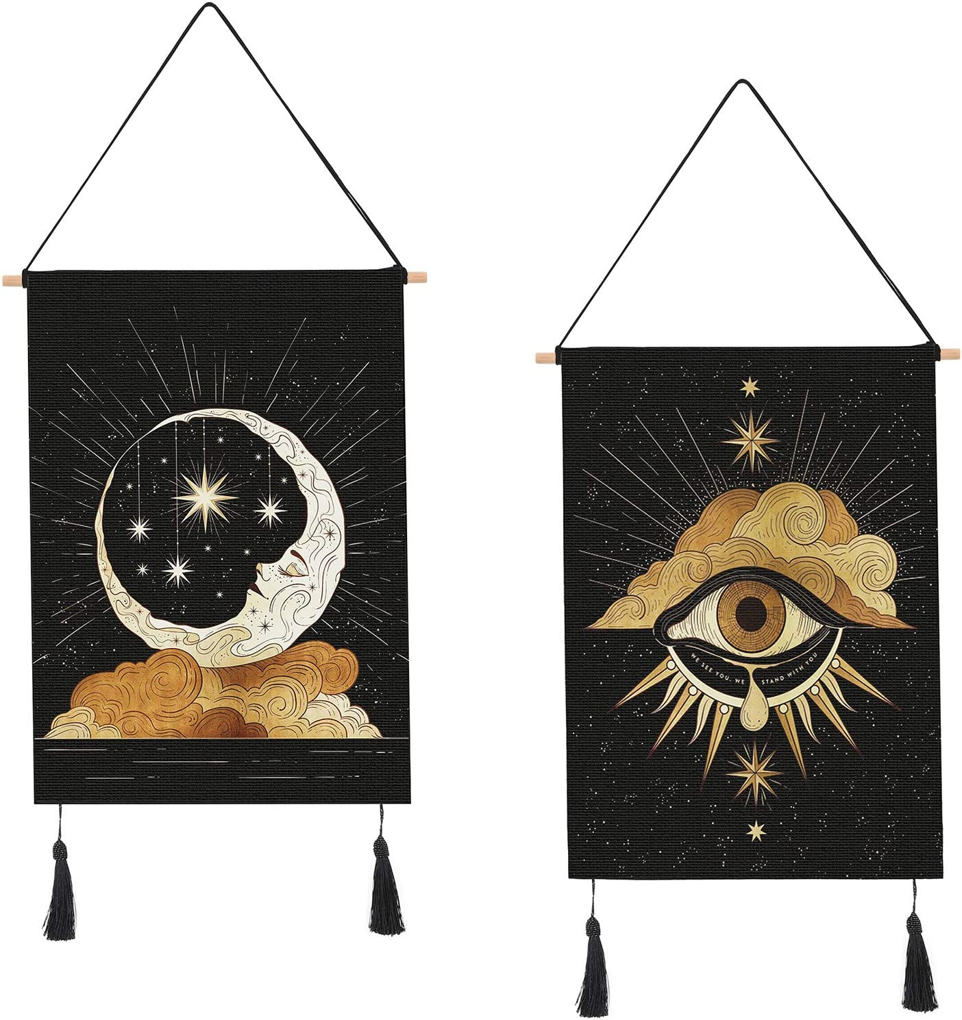 AWAYTR 2Pcs Small Tapestry Wall Hanging - Sun and Moon Tapestry for Room Apartment Decor (Witness,14 x 20 in)