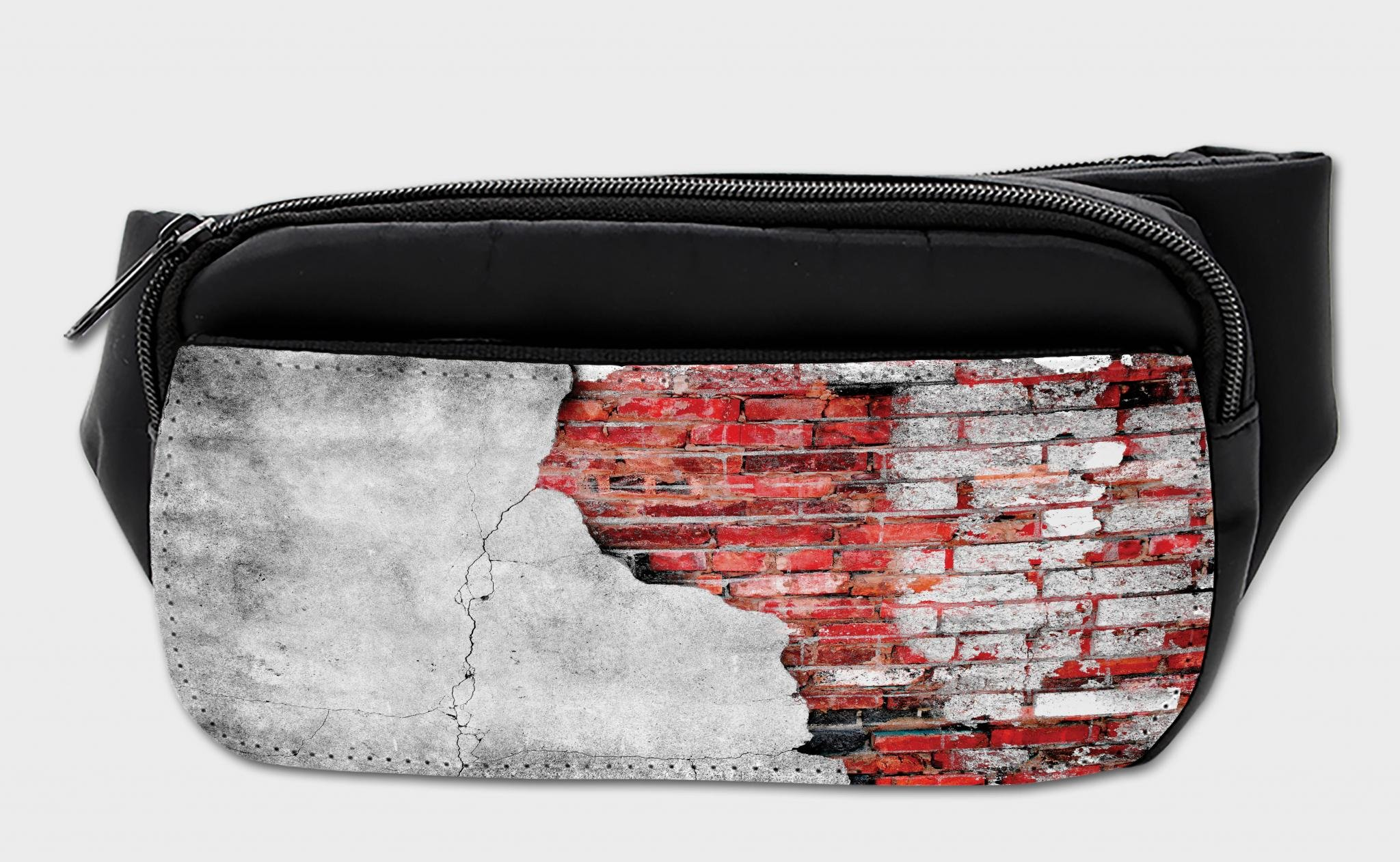 Lunarable Red and Black Bumbag, Cracked House Wall, Fanny Pack Hip Waist Bag