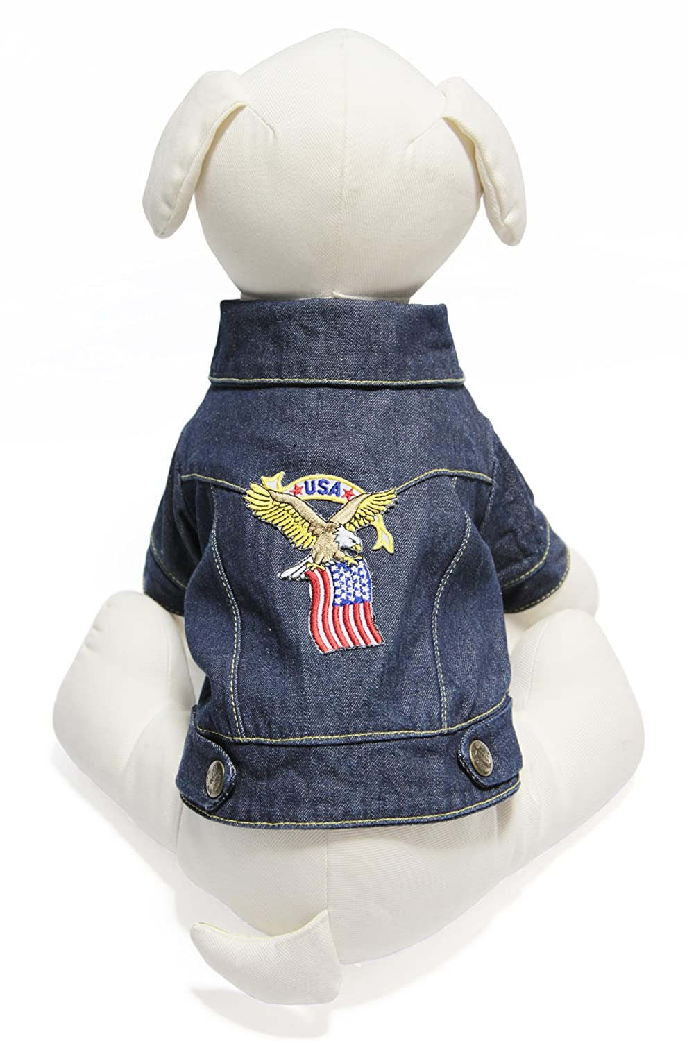 Eagle Large Eagle Large Gooby Denim Jacket for Pets, Large, Eagle