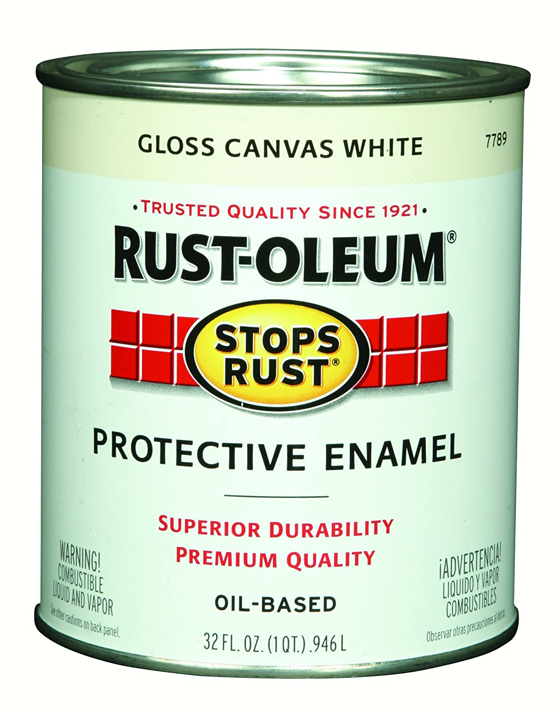 Rust-Oleum 7789502 Stops Rust Protective Enamel Paint, Quart, Gloss Canvas White