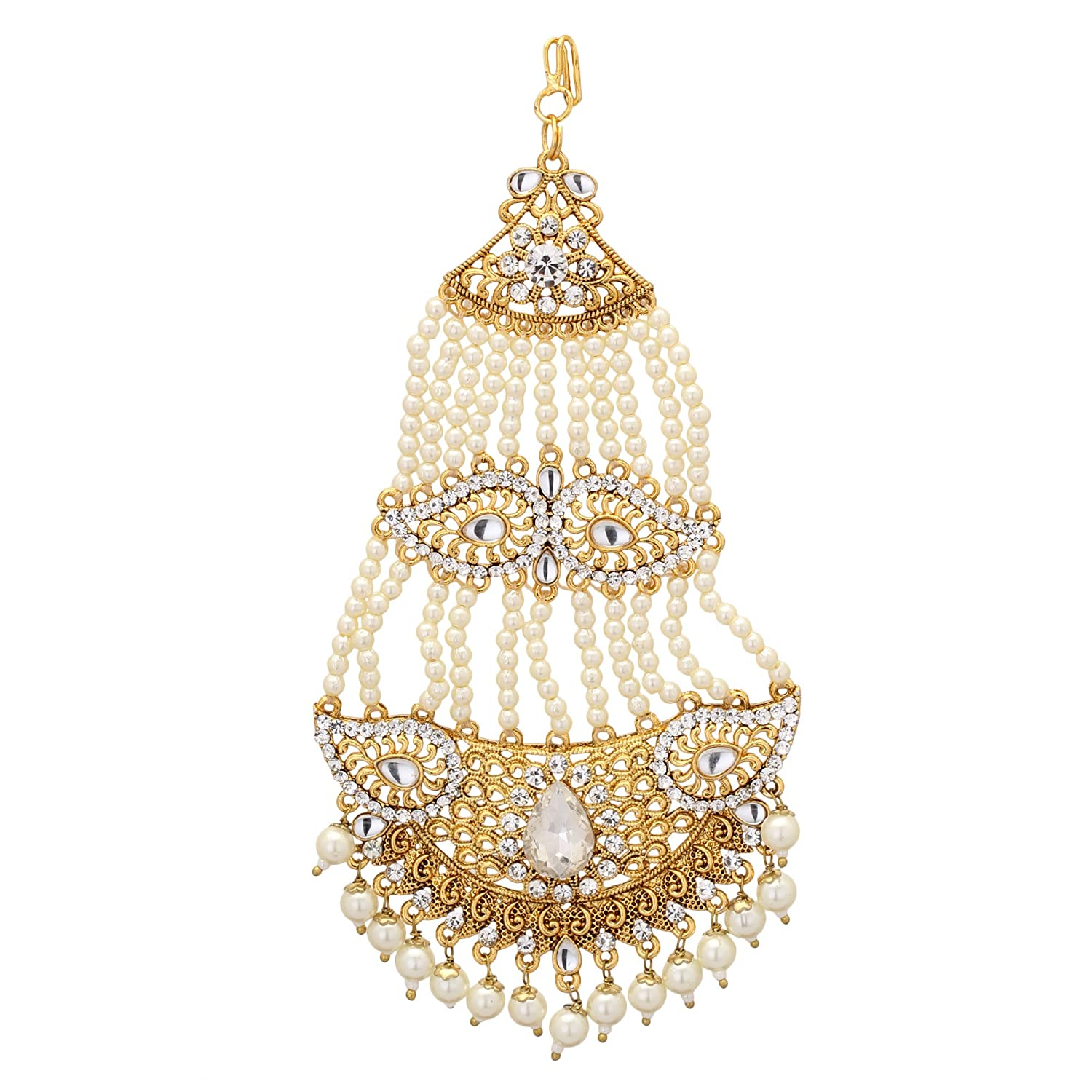 Jwellmart Indian Ethnic Collection Gold Polish CZ Faux Pearl Passa//Jhoomer for Women and Girls