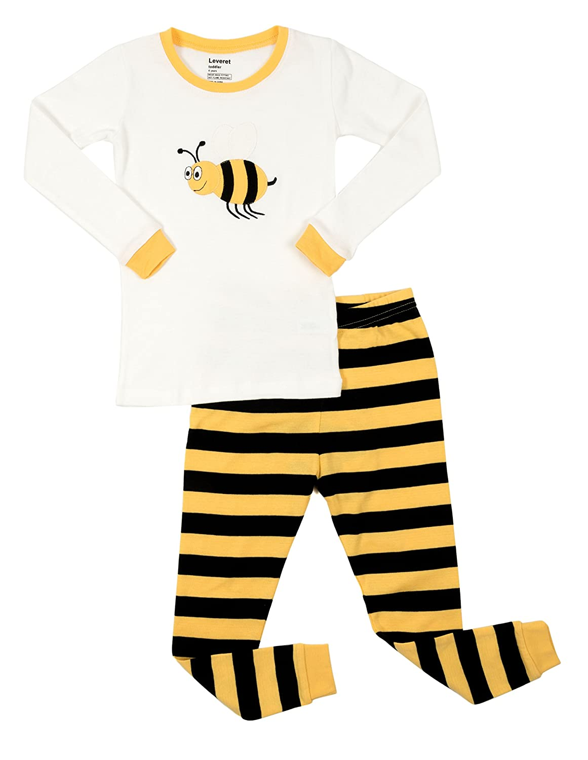 Leveret Kids & Toddler Pajamas Boys Girls Unisex 2 Piece Pjs Set 100% Cotton Sleepwear (12 Months-14 Years)