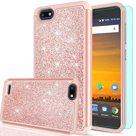 best service fe542 dea6d ZTE Blade Force Glitter Case,ZTE Wrap 8 with HD Screen Protector for Girls  Women, LeYi Shockproof Drop-protection [PC Silicone Leather] Hybrid Impact  ...