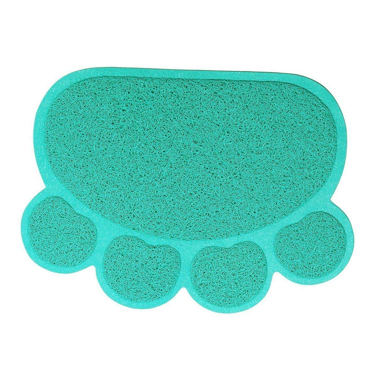 bluee Pet Cat Litter Mat,WONFAST Waterproof PVC Paw Shaped Cat Litter Trapper Mat,45 x 60CM (bluee)