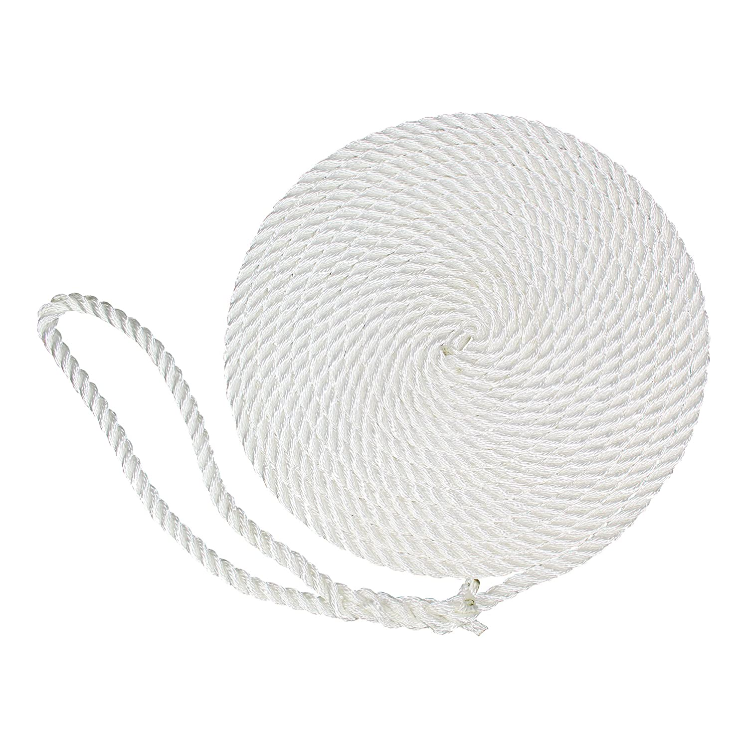 2-Pack, White - 3-Strand Twist Nylon Rope Docklines Marine Ropes for Boat//Boats SGT KNOTS Twisted Nylon Dockline Dock Lines