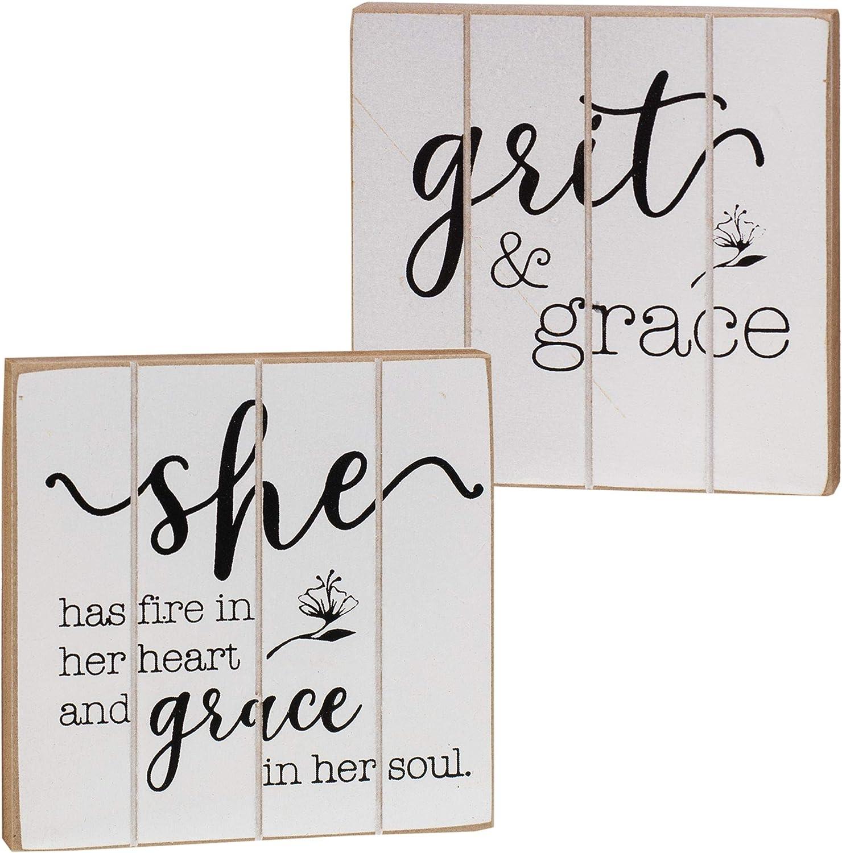 CWI Gifts Grit & Grace Wooden Blocks 2/Set, Multi