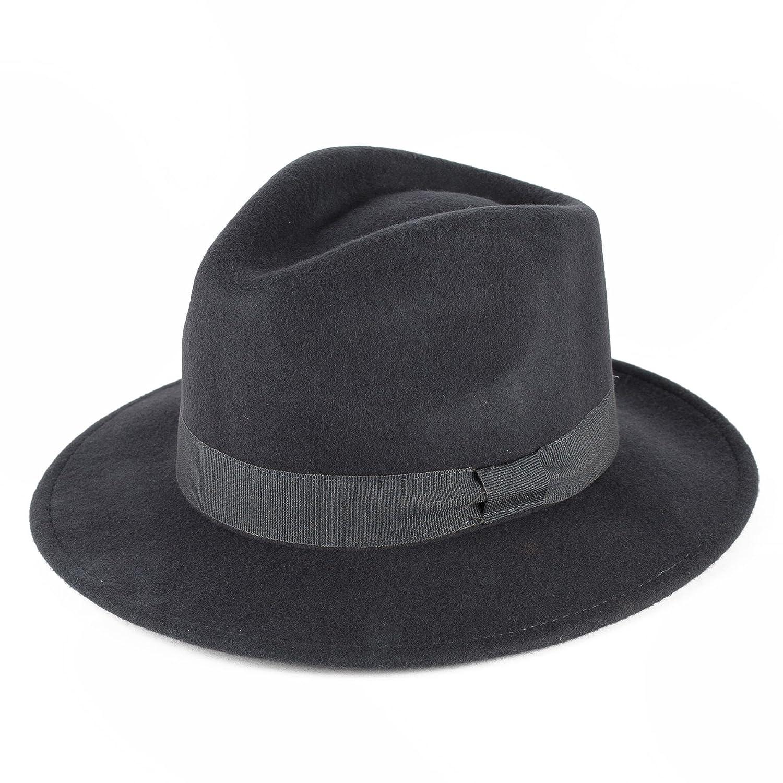 Cappello Fedora 100% Feltro di Lana con Banda in Grosgrain 6e9004e35d26