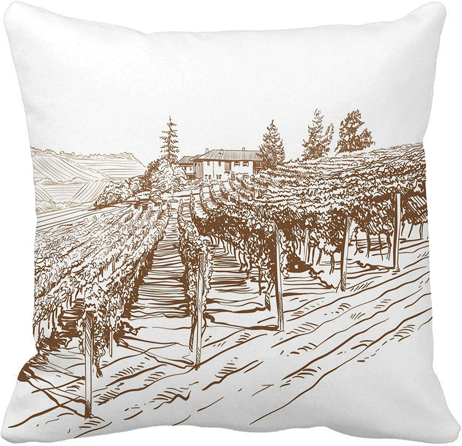 Awowee Throw Pillow Cover Wine Vineyard Landscape Sketch Food France Farm Vintage Italian 20x20 Inches Pillowcase Home Decorative Square Pillow Case Cushion Cover