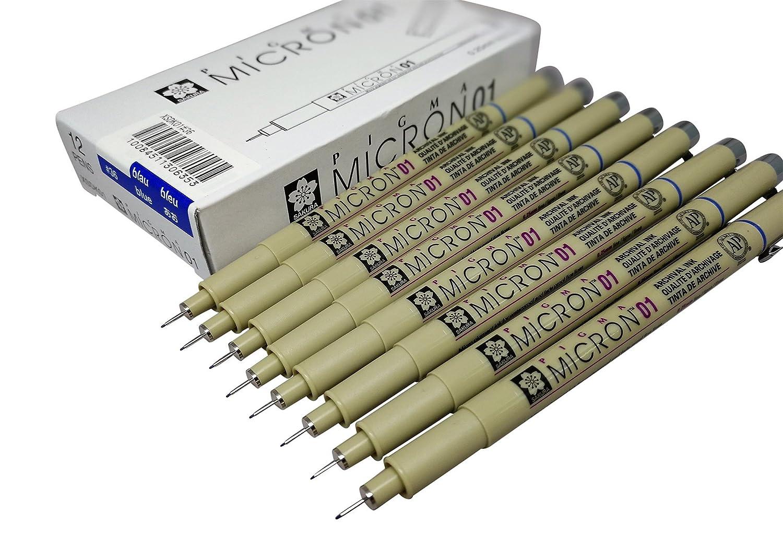 Sakura Pigma Micron pen 01 Black marker felt tip pen, Archival pigment ink for artist, sketch & drawing pens - 8 fine line pen set