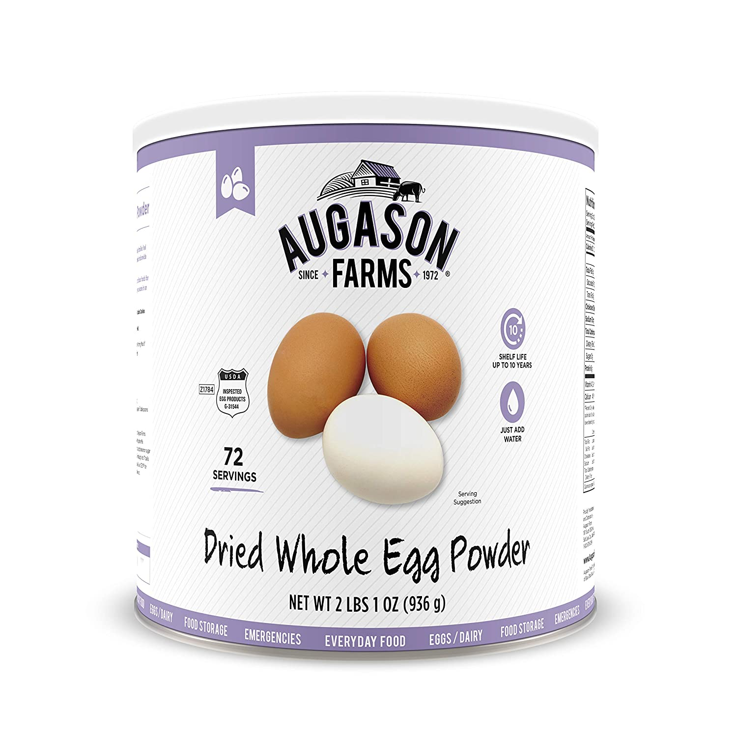 Augason Farms Dried Whole Egg Product 2 lbs 1 oz No. 10 Can