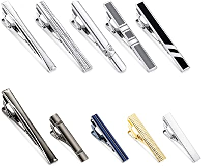 YADOCA Tie Clips Set for Men Regular Classic Tie Bar Clips Pinch Wedding Business Tie Clips with Gift Box