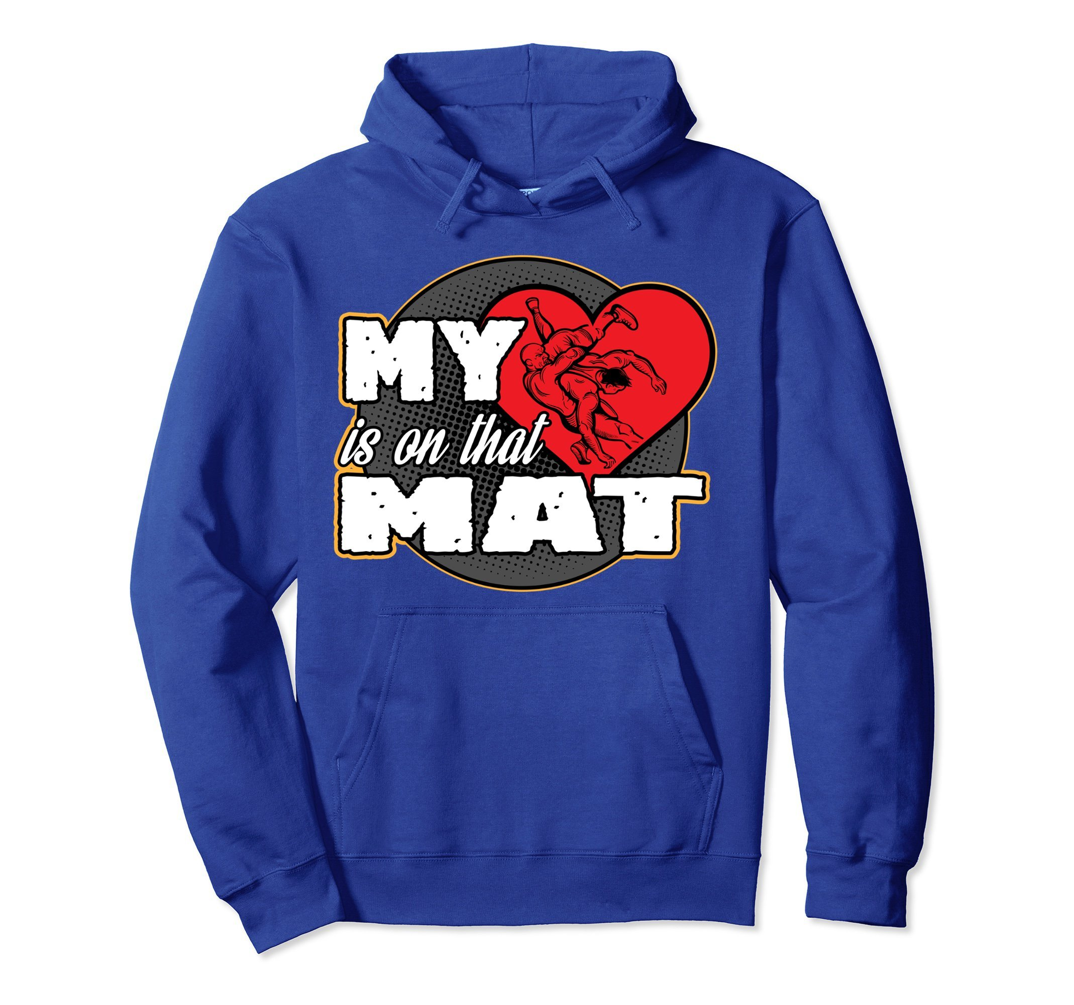 Unisex Wrestling Hoodie - My Heart is On That Mat Sweater 2XL Royal Blue by Wrestling Sweatshirt by Crush Retro
