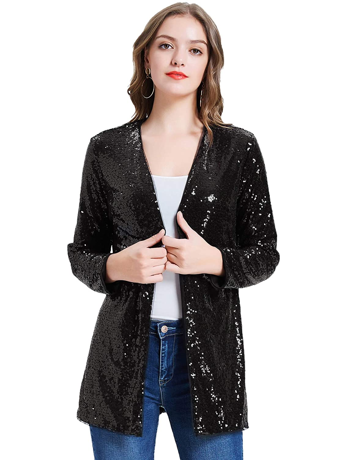 KANCY KOLE Womens Sequin Jacket Open Front Blazer Casual Long Sleeve Cardigan Coat S-XXL