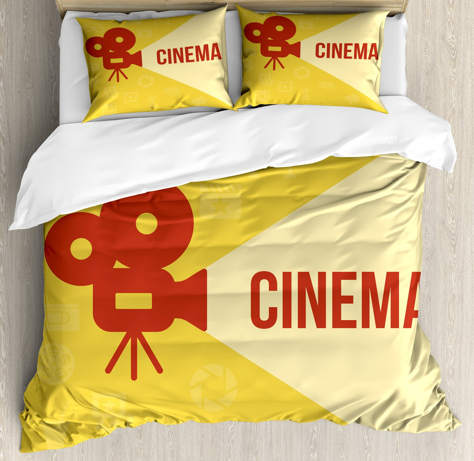 Ambesonne Movie Theater Queen Size Duvet Cover Set, Projector Silhouette with Cinema Quote Movie Symbols Background, Decorative 3 Piece Bedding Set with 2 Pillow Shams, Dark Coral Beige Yellow