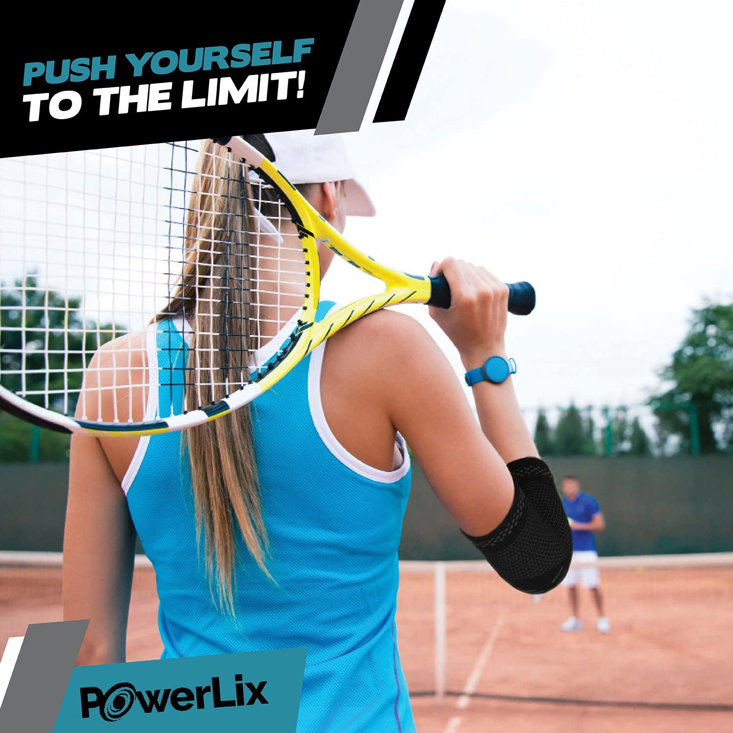 POWERLIX Elbow Brace Compression Support (Pair) - Elbow Sleeve for Tendonitis, Tennis Elbow Brace and Golfers Elbow Treatment, Arthritis, Workouts, Weightlifting – Reduce Elbow Pain: Sports & Outdoors