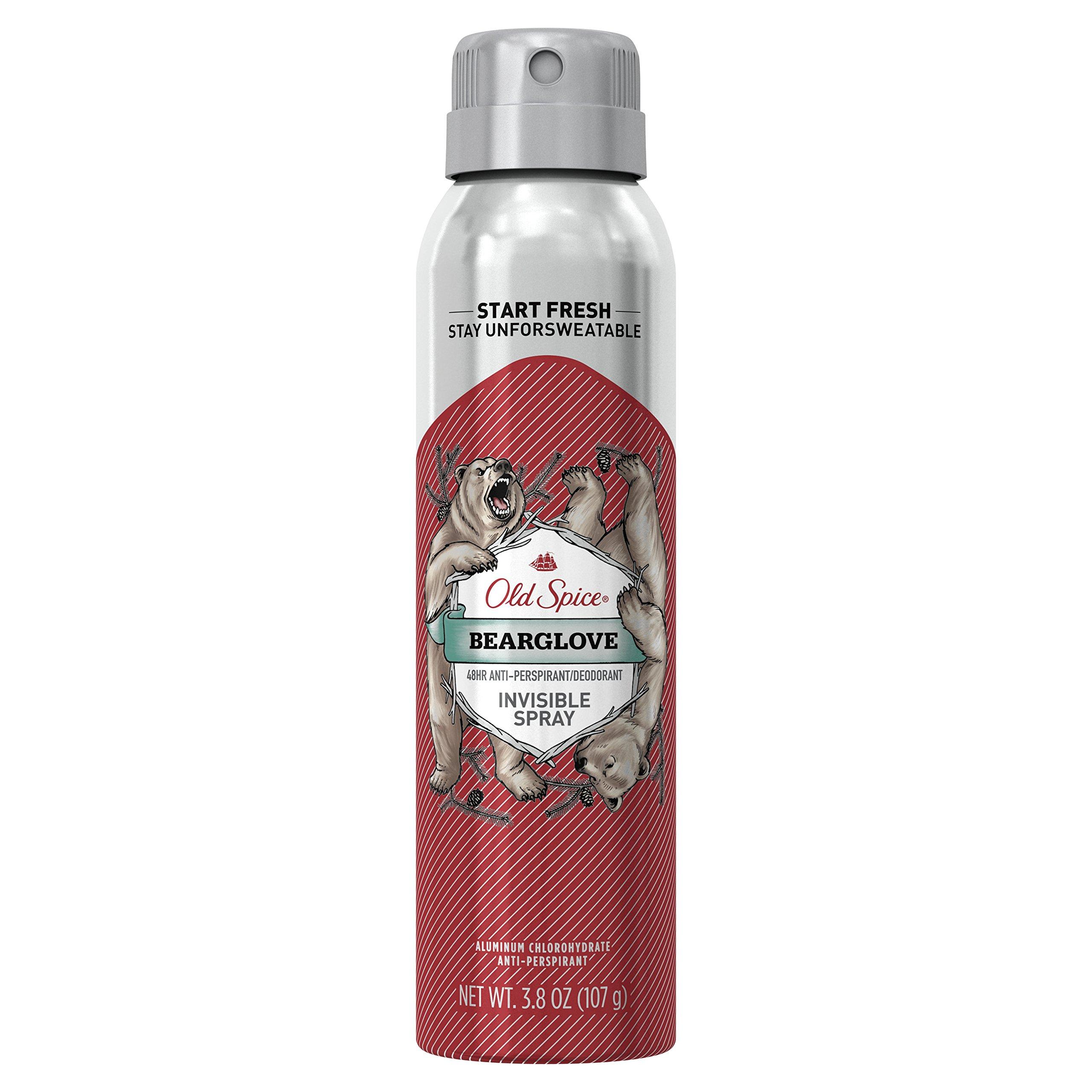Old Spice Antiperspirant and Deodorant for Men, Invisible Spray, Bearglove, Apple, Citrus, Spice Scent, 3.8 Oz