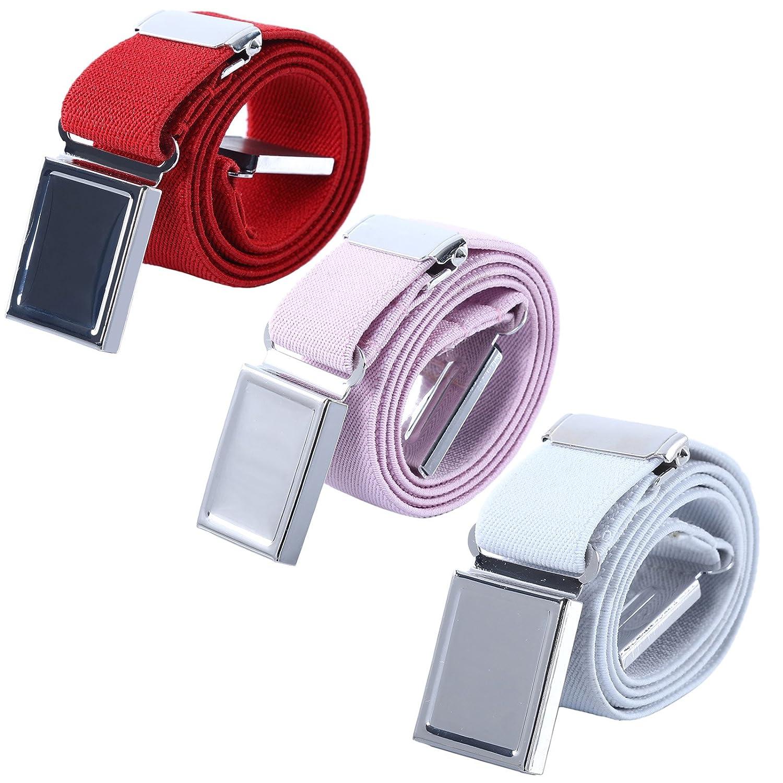 Boy Kids Magnetic Buckle Belt Royal blue//Red//Black Adjustable Elastic Child Belts for Girls 3 Pieces