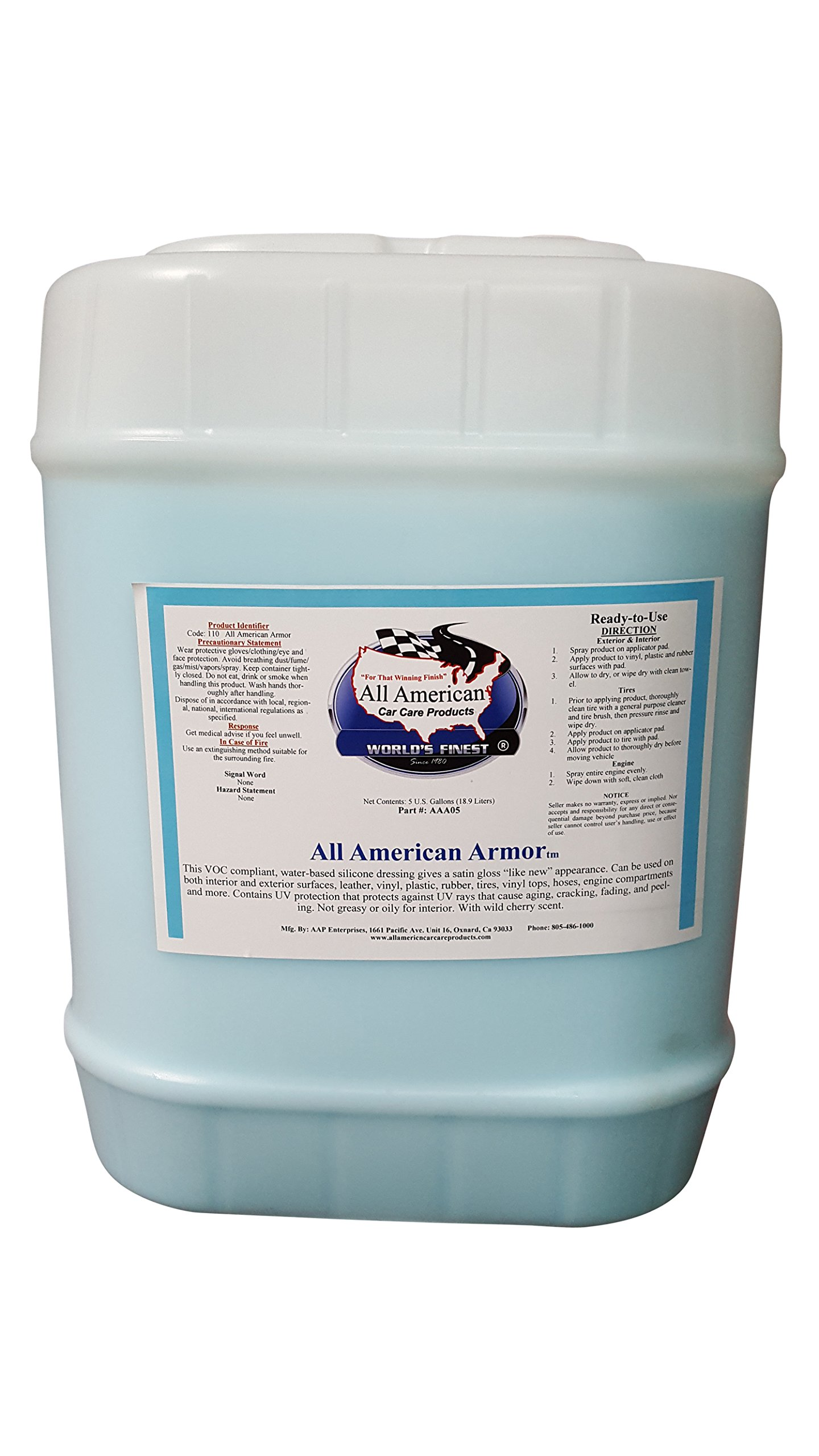 All American Car Care Products Armor - Water-based Silicone Silicone Dressing for Leather, Vinyl, Plastic, Rubber, and More (5 Gallons)