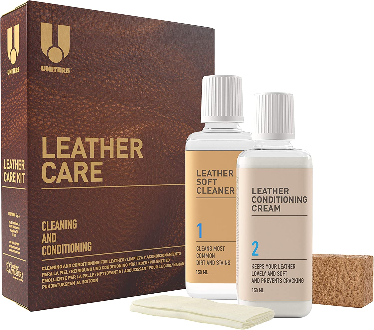 UNITERS Leather Care Kit - 2 Pack Leather Cleaner and Protection Cream for Furniture, Sofa, Car Seat, Handbag, Wallets, and Jackets - Stain, Oil, Dirt Remover and Protector - 150 ml Bottles