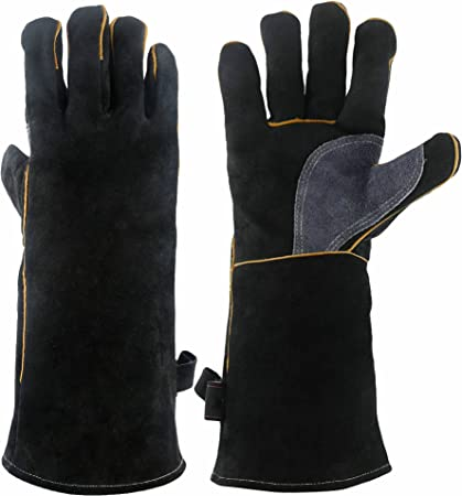 16-inch 932/°F Heat Resistant Leather Grill Glove for Tig Welder//Grilling//Barbecue//Oven//Fireplace//Wood Stove Long Sleeve and Insulated Cotton Lining Black-gray OZERO Welding BBQ Gloves