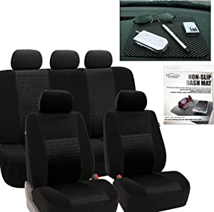 FH Group FH-FB060115 Trendy Elegance Car Seat Covers Solid Black, Airbag Compatible and Split Bench FH1002 Non-Slip Dash Grip Pad Fit Most Car, Truck, SUV, or Van