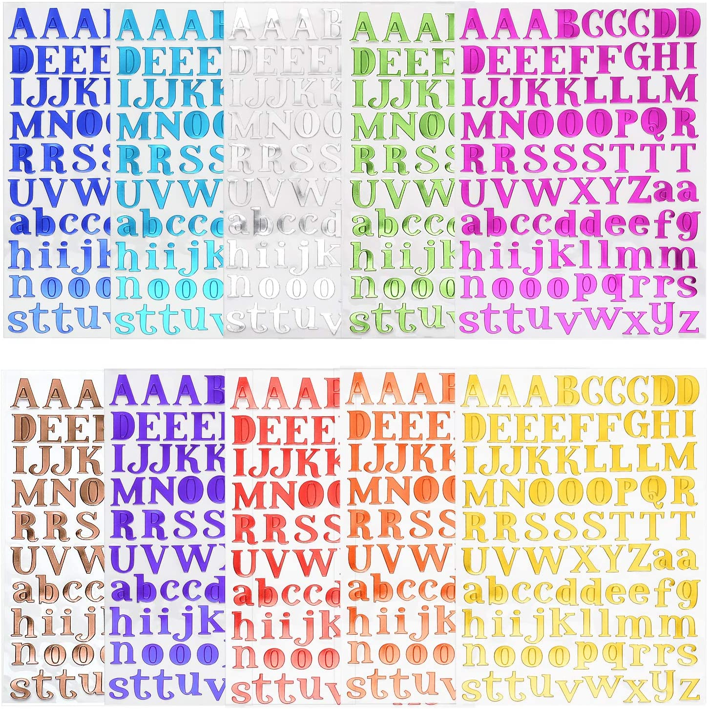 Noverlife 10 Sheets Colorful Self-Adhesive Alphabet Stickers, Uppercase & Lowercase Glitter Letter Stickers, Cardstock Kraft Alpha Stickers for DIY Papercraft Scrapbook Home Decor Kids Education
