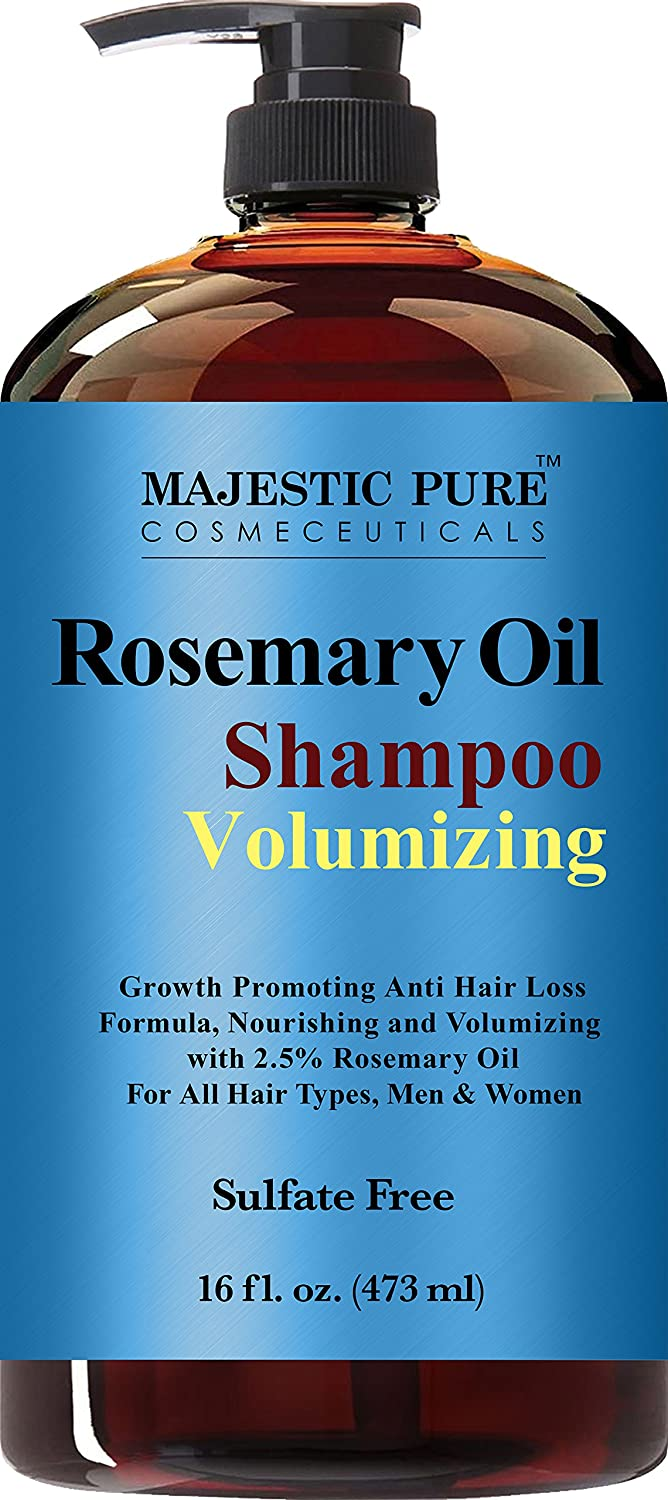 Majestic Pure Rosemary Shampoo, Sulfate Free with 2.5% Pure Rosemary Essential Oil, Growth Promoting Anti Hair Loss for Men & Women - 16 fl oz